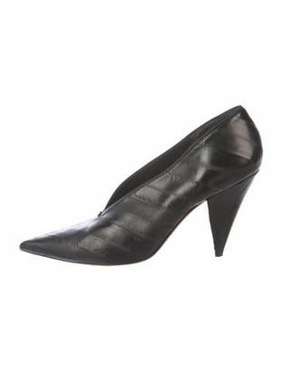 Celine V-Neck Leather Pumps Black