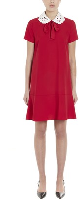 RED Valentino Collar Embroidered Bow Detail Mini Dress