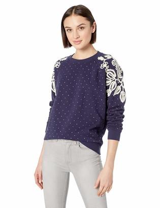 Lucky Brand Women's Polka DOT Chenille Pullover Sweatshirt