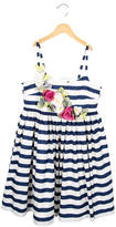 Junior Gaultier Girls' Floral-Embellished Striped Dress w/ Tags