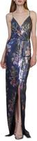 Thumbnail for your product : ML Monique Lhuillier Sequin Sleeveless Faux-Wrap Column Gown