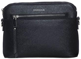 Mocha Joan Zip Clutch Leather Crossbody Bag - Black