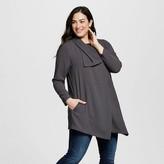LORAMENDI Women's Plus Size One Button Woven Blazer Gray