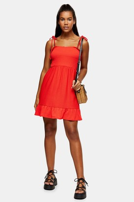 Topshop Womens Red Shirred Flippy Dress - Red