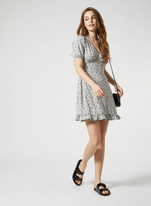 Miss Selfridge Grey Floral Fit N Flare Mini Dress
