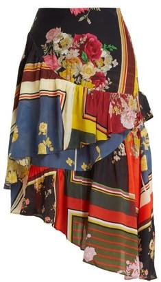 Preen Line Blossom Floral-print Asymmetric Tiered Skirt - Multi