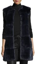 St. John Rex Rabbit Fur Vest W/ Leather Pockets