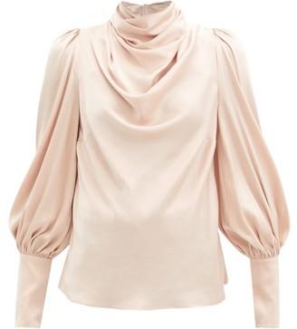 Zimmermann Gathered Silk-blend Satin Blouse - Light Pink