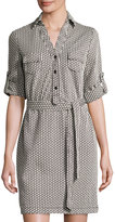 Max Studio Diamond-Print Knit Shirtdress, Black/Ivory