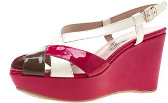 Salvatore Ferragamo Tricolor Patent Leather Cross Ankle Starp Wedge Sandals Size 39.5