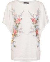 Dorothy Perkins Womens *Quiz White Floral Embellished Top- White