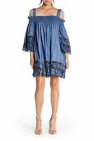 KENDALL + KYLIE Blue Embroidered Chambray Dress