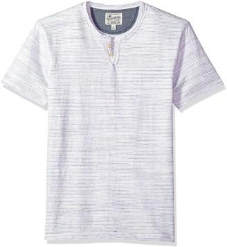 Lucky Brand Men's Stripe Button Notch Neck Shirt