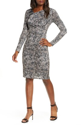 Vince Camuto Asymmetrical Neck Long Sleeve Ruched Dress