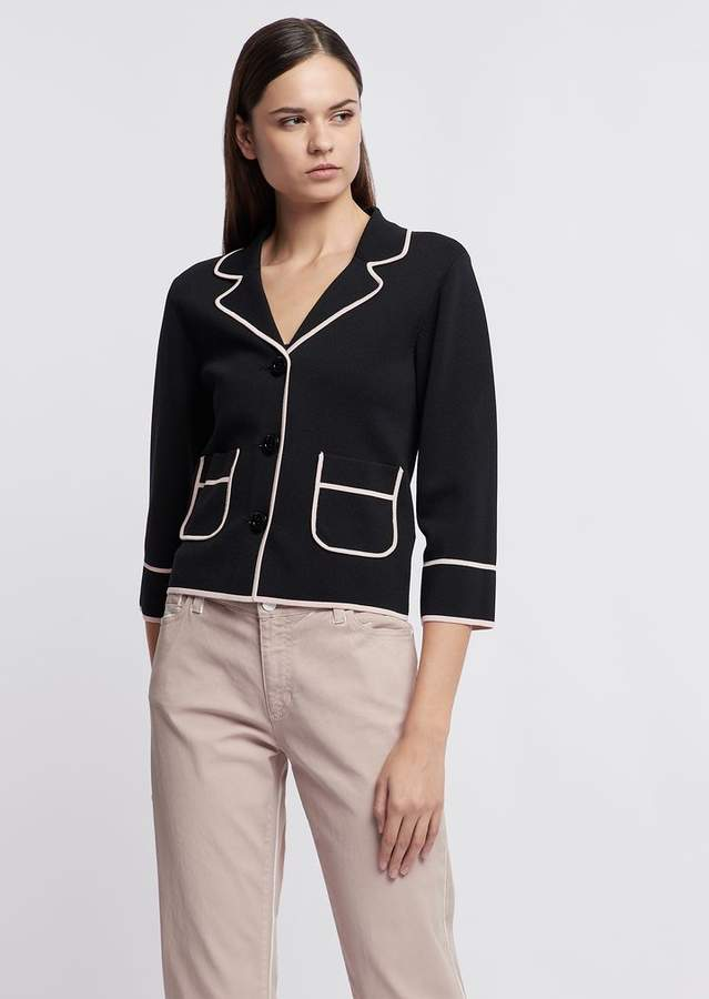 521068dc6b Jacket In Stitched Knit With Contrast Profiles