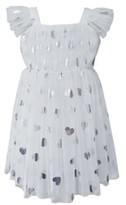 Popatu Silver Heart Embellished Tulle Dress