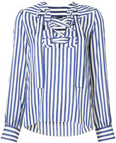 Derek Lam lace-up striped shirt