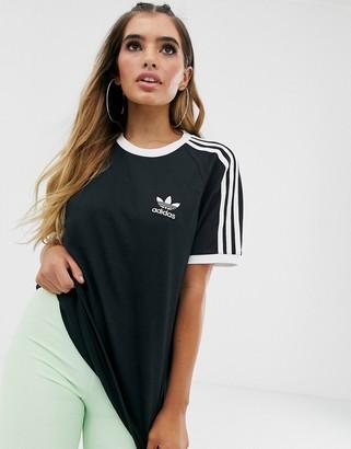adidas adicolor three stripe t-shirt in black