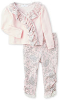 Laura Ashley Newborn Girls) Two-Piece Pink Ruffle Trim Top & Floral Pants Set