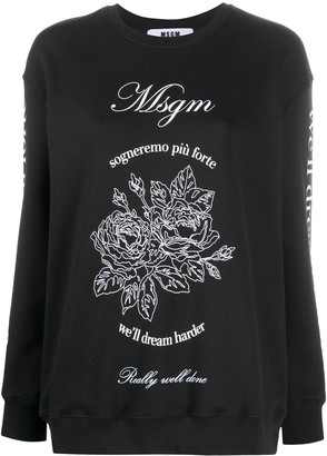 MSGM We'll Dream Harder print sweatshirt