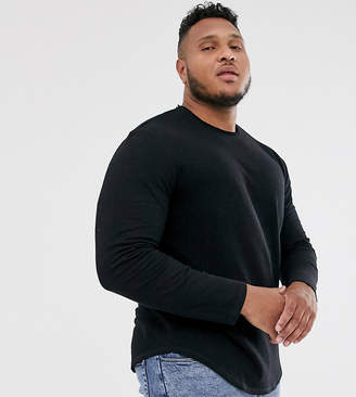 ONLY & SONS longline long sleeve t-shirt with raw neck detail-Black