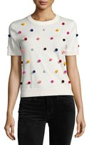 Kate Spade Short-Sleeve Pompom Sweater, White