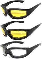 OWL 3 Pairs Black Motorcycle Padded Foam Glasses Clear Lens for Outdoor Activity Sport