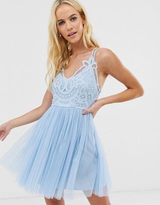 Asos Design DESIGN Premium lace top tulle cami mini dress-Blue