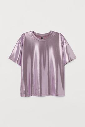 H&M Short-sleeved Top - Purple