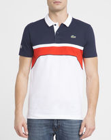 Lacoste White Red Navy Sport Polo Shirt