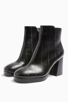 Topshop Womens **Wide Fit Eddie Black Platform Boots - Black
