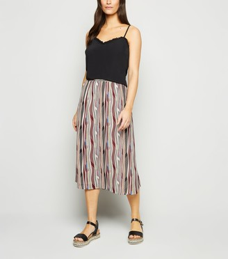 New Look JDY Geometric Stripe Midi Skirt