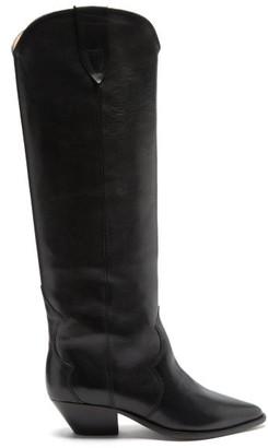 Isabel Marant Denvee Point-toe Leather Knee-high Boots - Black