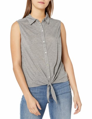 Tresics Women's Trendy Basic Junior Sleeveless Button Up Front Tie Knit Top
