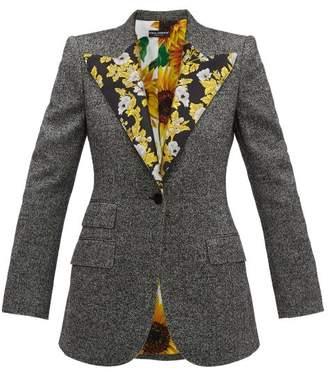 Dolce & Gabbana Brocade Trimmed Wool Blend Tweed Jacket - Womens - Grey Multi