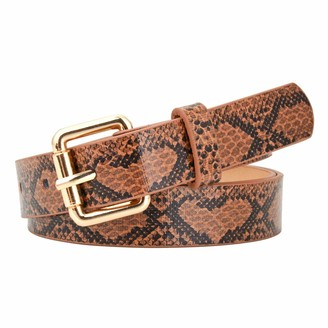 CHIC DIARY Womens Snakeskin PU Leather Belts Waist Belt for Jeans (Camel)