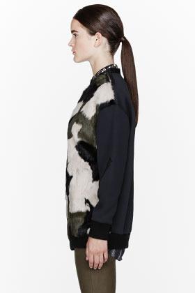 3.1 Phillip Lim Green & black fur Patchwork Camouflage Sweatshirt