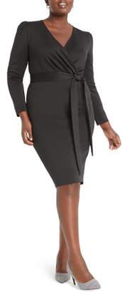 ELOQUII Wrap Front Long Sleeve Sheath Dress