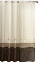 "Lush Decor Mia Stripe Shower Curtain, 72"" X 72"", Single, Wheat/ Taupe/ Brown"