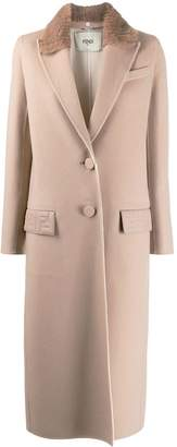 Fendi detachable collar single-breasted coat