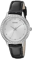 GUESS Women's U0648L7 Dressy Silver-Tone Watch with White Dial , Crystal-Accented Bezel and Genuine Leather Strap Buckle