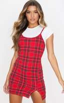 PrettyLittleThing Red Tartan Print 2 In 1 Strappy Split Front Shift Dress