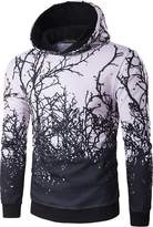jeansian Men's Tree Branches Printing Hooded Pullover Sweater Tops 88K5 S