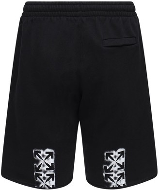 Off-White Stencil Print Cotton Jersey Sweat Shorts