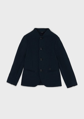 Emporio Armani Single-Breasted Jacket In Textured Sweatshirt Material