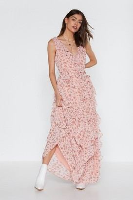 Nasty Gal Womens Grow the Distance Floral Ruffle Dress - Pink - 6, Pink