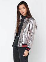 Glamorous New Womens Metallic Bomber Jacket In Silver Jackets Bomber