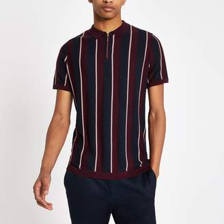 River Island Mens Burgundy stripe zip slim fit polo shirt