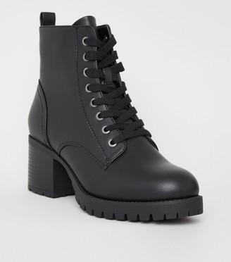 New Look Leather-Look Chunky Heel Biker Boots