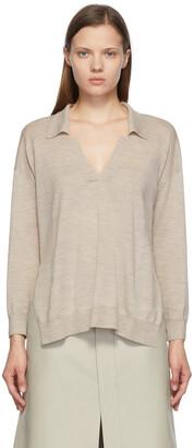 Stella McCartney Beige Wool Knit V-Neck Sweater